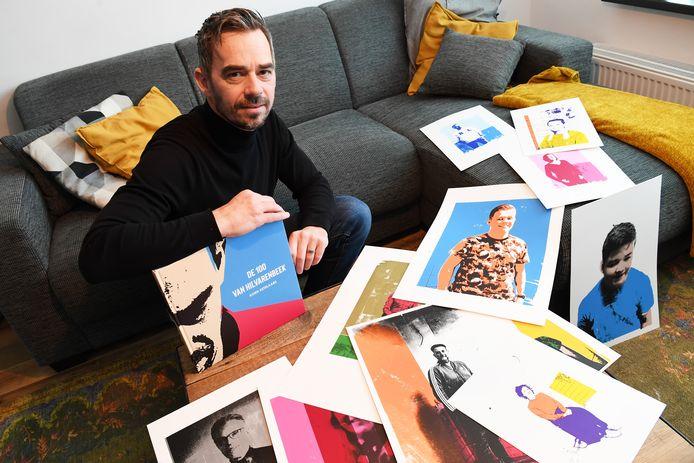 Koen Ketelaars heeft van honderd mensen in Hilvarenbeek een zeefdrukportret gemaakt.