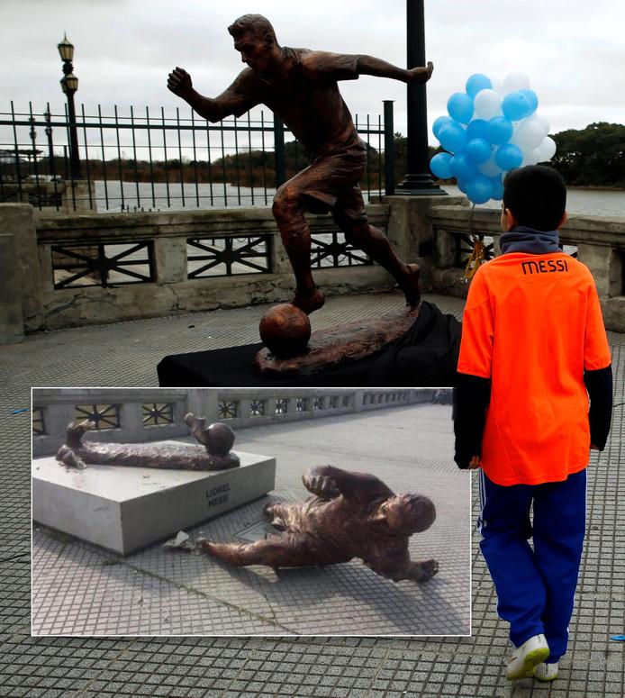 Het standbeeld van Lionel Messi. Inzet: vandalen braken het tot op de 'enkels' af.