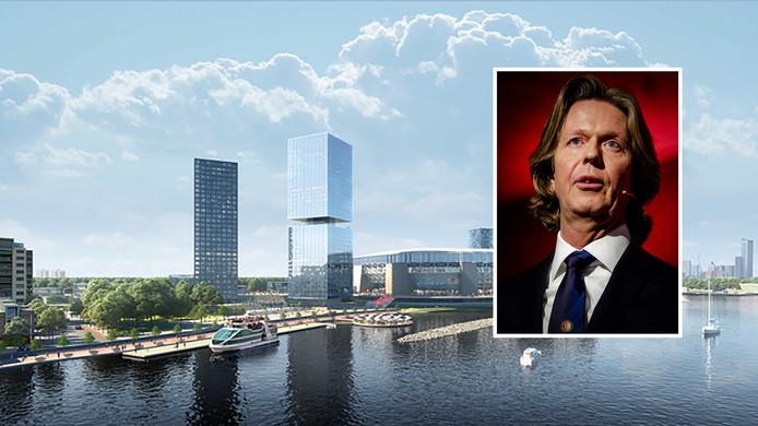 Feyenoord City, mét het nieuwe stadion. Wat voor gevolgen heeft het vertrek van Jan de Jong? (foto-inzet)