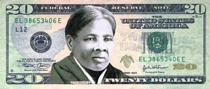 Een illustratie van het 20 dollarbiljet, zoals het er uit had moeten gaan zien.