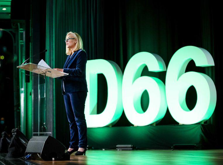 Sigrid Kaag houdt haar eerste grote speech als nieuwe leider van D66. Beeld ANP