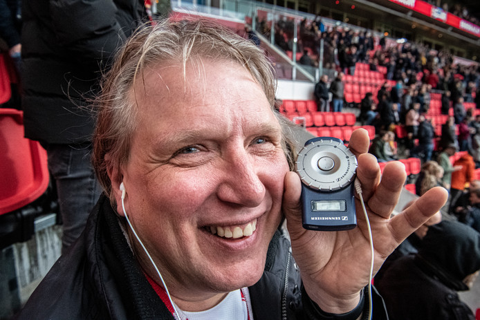 Blinde Richard Koster bij de wedstrijd PSV Venlo