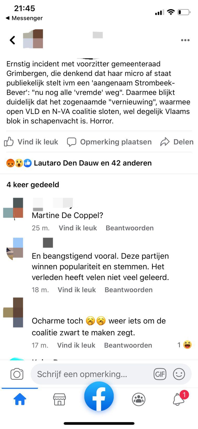 Op Facebook werd meteen gereageerd op de uitspraak van Martine De Coppel.