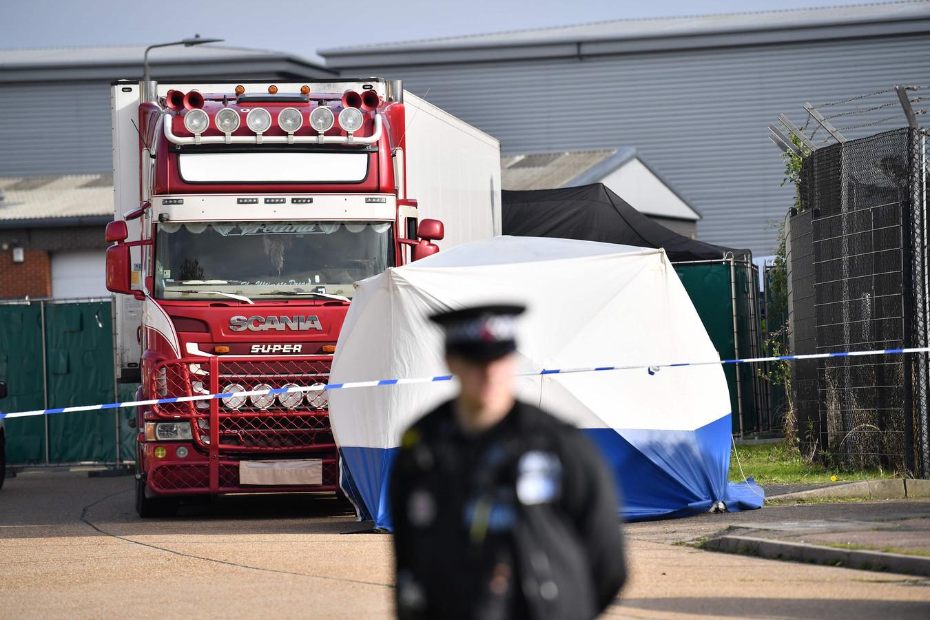 De koeltruck in Engeland waarin de lichamen van 39 Vietnamese migranten werden gevonden.