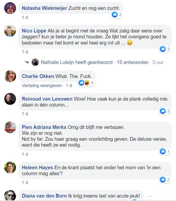 Kleine greep uit de reacties op Facebook.
