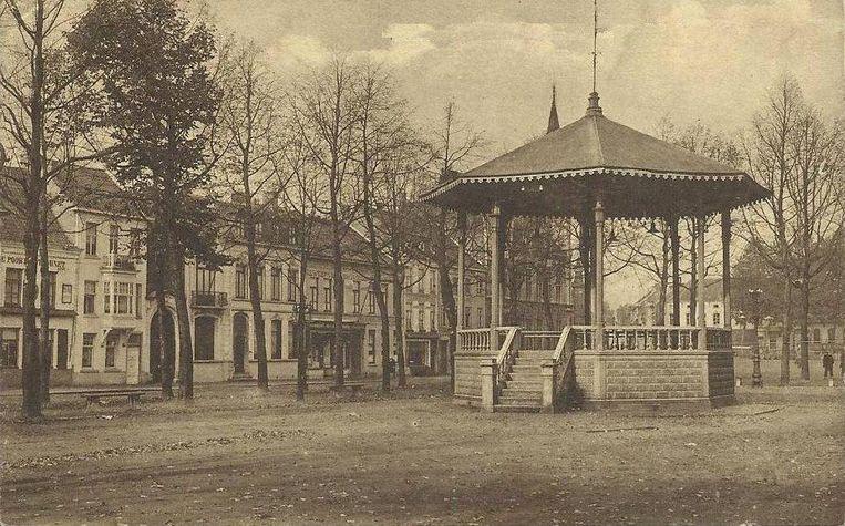 Een beeld van de voormalige kiosk op de Markt van Lokeren.