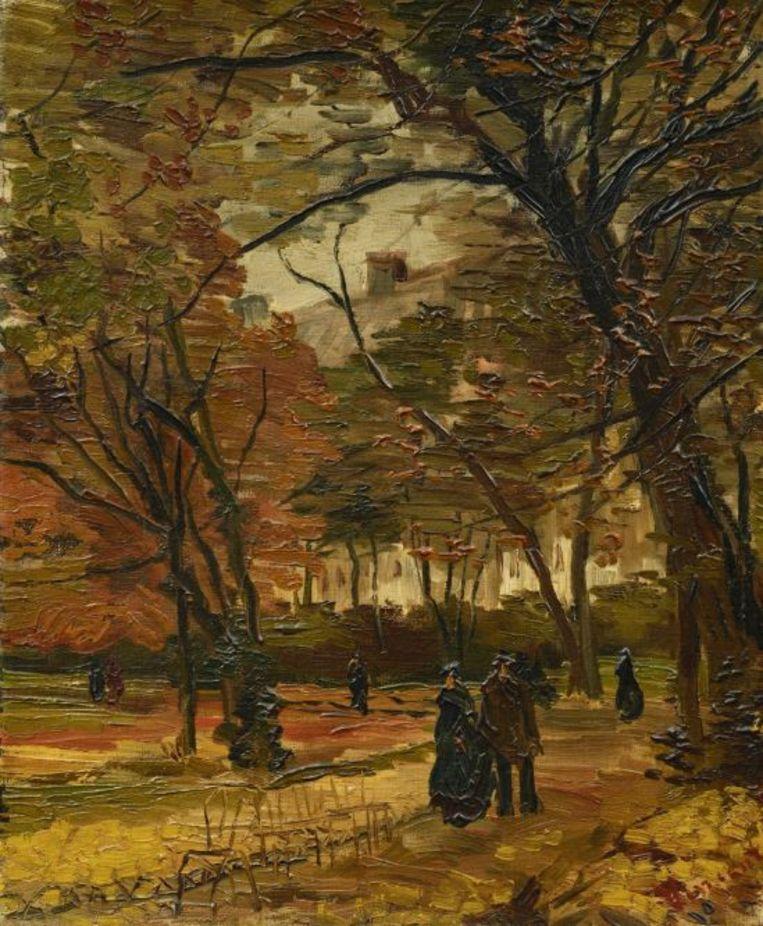 Vincent van Gogh, Mensen wandelend in een park in Parijs (1886).  Beeld Sotheby's