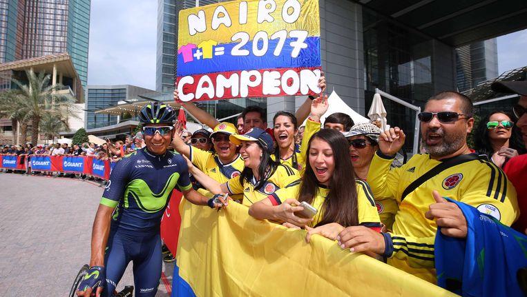 Nairo Quintana, landgenoot van de ritwinnaar, is de bekendste naam in het peloton in Asturië