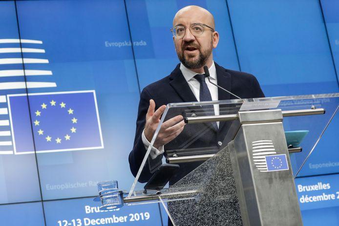 Charles Michel, président du Conseil européen, lors d'une conférence de presse à Bruxelles, le 13 décembre 2019.