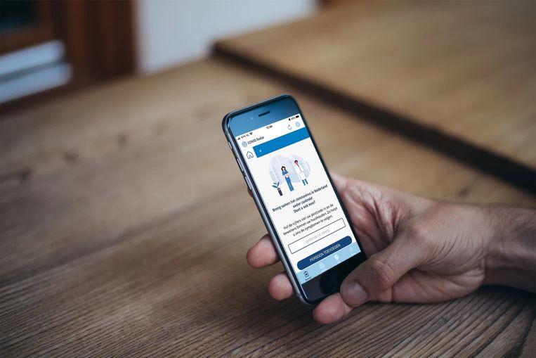 De corona-app van het LUMC. Beeld LUMC