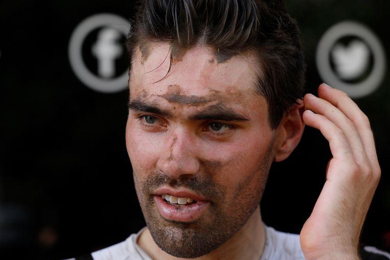 Tom Dumoulin na afloop van de negende etappe van de Tour de France tussen Arras en Roubaix Beeld ANP