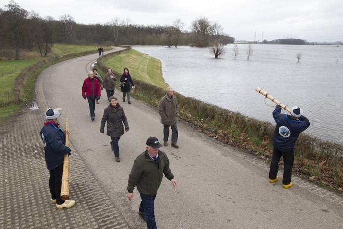 Midwinterhoornblazers verwelkomen de wandelaars op de Werverdijk. foto Henri van der Beek