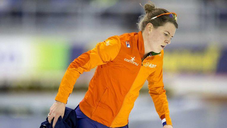 Ireen Wust na afloop van de 3000 meter tijdens het WK allround in de Olympic Oval in Calgary Beeld anp