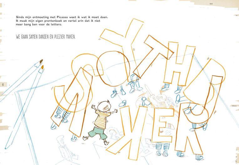 In het boek van Henk Linskens danst hoofdpersonage Henk, een jongen die aan dyslexie lijdt, met de letters.