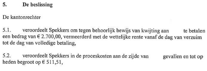 Vonnis in de zaak van Anke tegen Spekkers