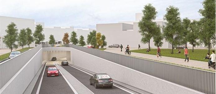 De nieuwe wegtunnel, kant Lambrechtlaan