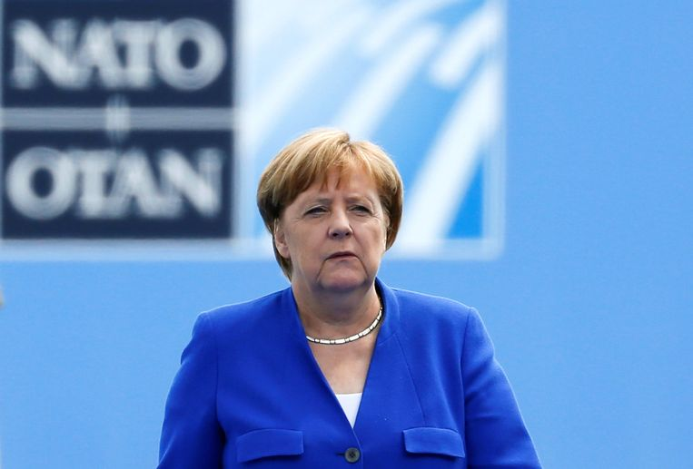 Duits bondskanselier Angela Merkel arriveerde deze namiddag in Brussel voor de start van de NAVO-top.