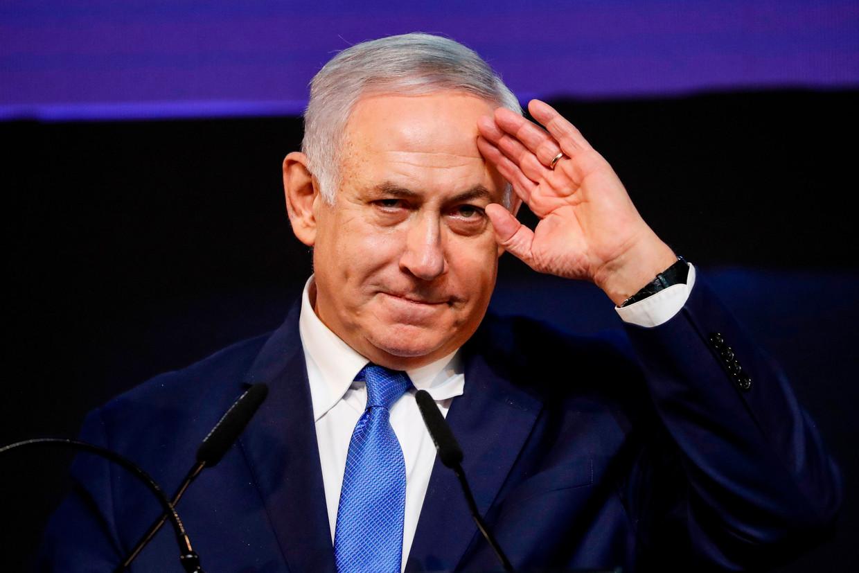 Benjamin Netanyahu tijdens zijn overwinningstoespraak. Beeld AFP