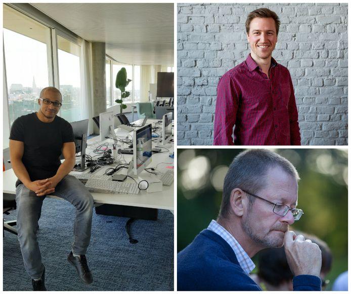 Links en rechtsonder: Marthy Kabongo en François Maes van DPG Media, rechtsboven: Reindert Vanderhaeghen van ConXioN