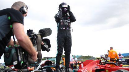 Hamilton finisht op drie banden op Silverstone en houdt nipt Verstappen af, Brit wint wel derde GP op rij en loopt verder uit