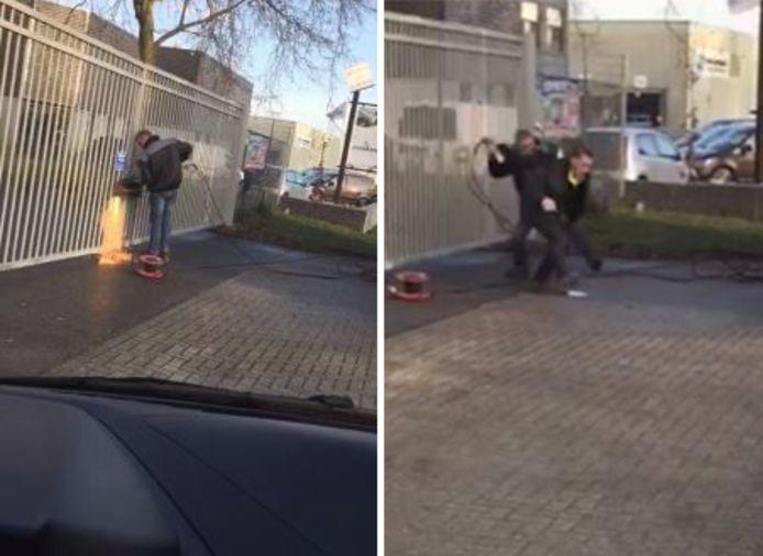 Videostills waarop te zien is hoe afvalverwerker Albert T. het hek wil open snijden en in gevecht raakt met eigenaar van de milieustraat Jan van Dijk.