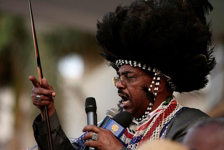 Omar al-Bashir spreekt Zuid-Soedanese demonstranten toe in Khartoem, 2009.  Beeld Reuters