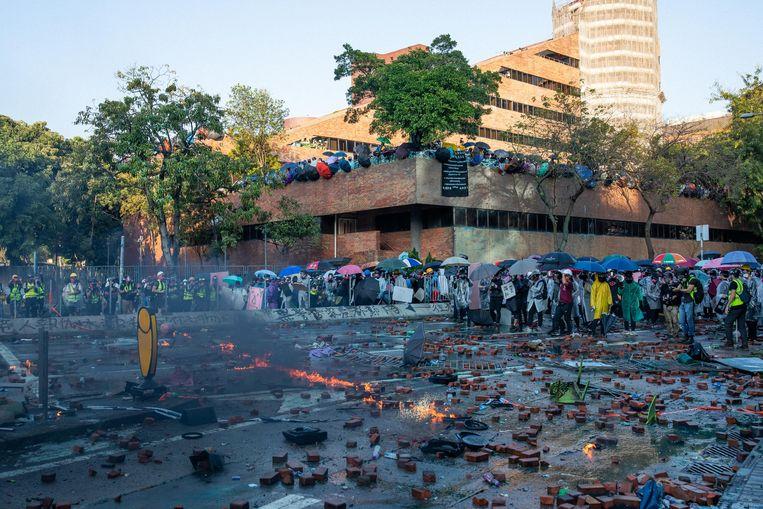 De situatie aan de universiteit vorige week.