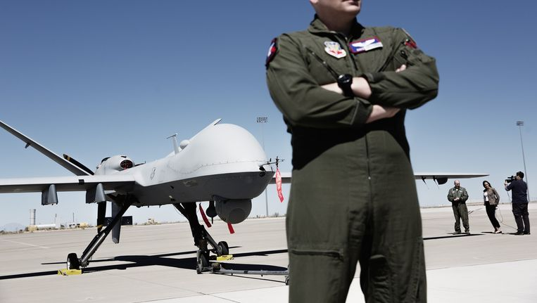 De MQ-9 Reaper. De CIA zet de drones ook in voor contra-terrorisme. Bestuurd vanuit de VS vuren ze op mensen in Somalië, Jemen en Pakistan. Beeld Daniel Rosenthal / de Volkskrant