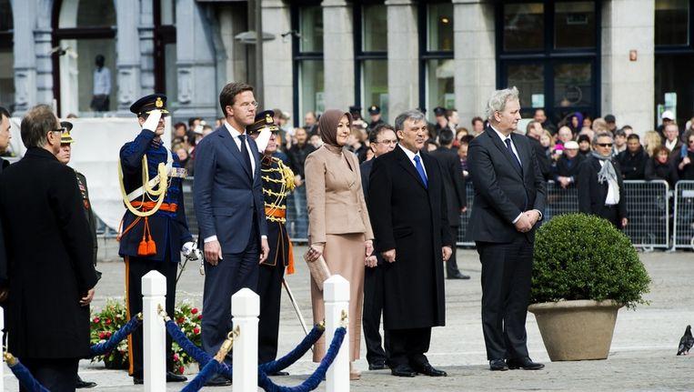 Premier Rutte gisteren met de Turkse president en diens vrouw. Beeld anp