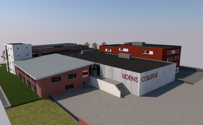 De nieuwbouw van het Udens College bezien vanaf de Mellesingel met op de voorgrond de nieuwe sporthal. Links ligt het bestaande studiehuis.