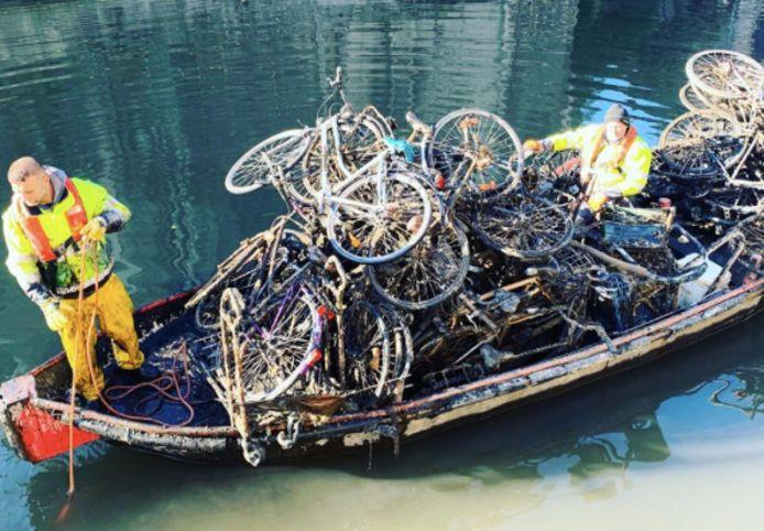 De fietsvissers aan het werk...