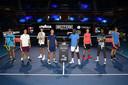 Van links naar rechts: Alejandro Davidovich Fokina, Miomir Kecmanovic, Ugo Humbert, Alex de Minaur, Frances Tiafoe, Casper Ruud, Mikael Ymer en Jannik Sinner strijden dit jaar om de titel op de Next Gen ATP Finals.