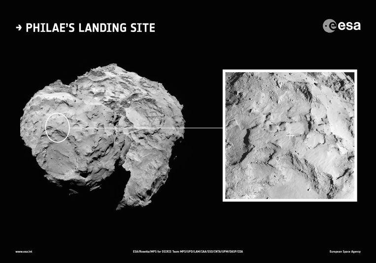 De plek waar Philae moet landen. Beeld epa