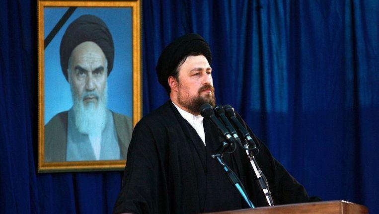 Kleinzoon Hassan Khomeini. Hij noemt het 'ongelofelijk' dat Akbar Rafsanjani, vertrouweling van Khomeini en president van 1989 tot 1997, nu is uitgesloten van de verkiezingen. Beeld epa