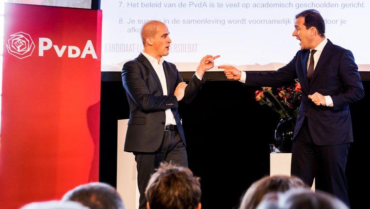 Kandidaat-lijsttrekkers van de PvdA Diederik Samsom en Lodewijk Asscher tijdens een debat over de koers van de partij. Beeld anp