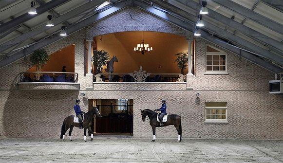 De indoor-manège van Domein Markgraaf.