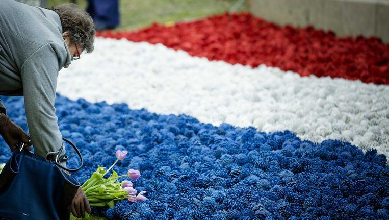 Belangstellende leggen bloemen tijdens de jaarlijkse Nationale Dodenherdenking op de Waalsdorpervlakte in 2014. Beeld ANP