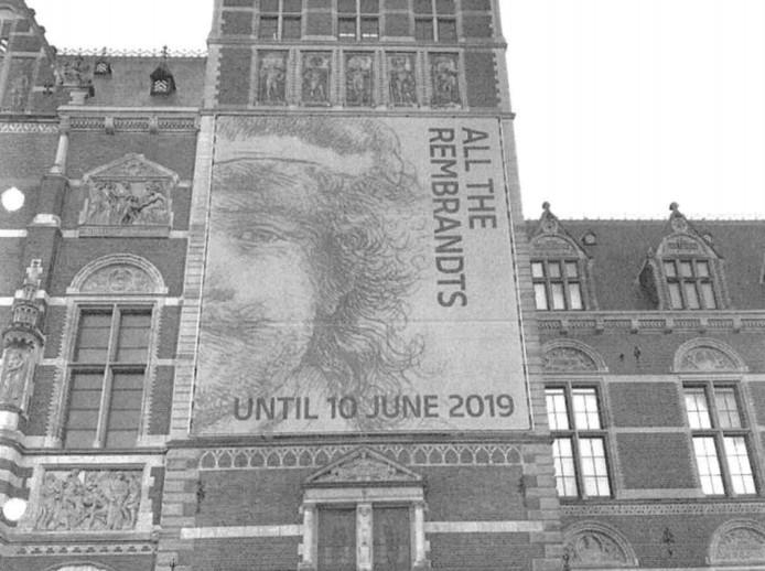 De bewuste reclame-uiting aan de gevel van het Rijksmuseum.