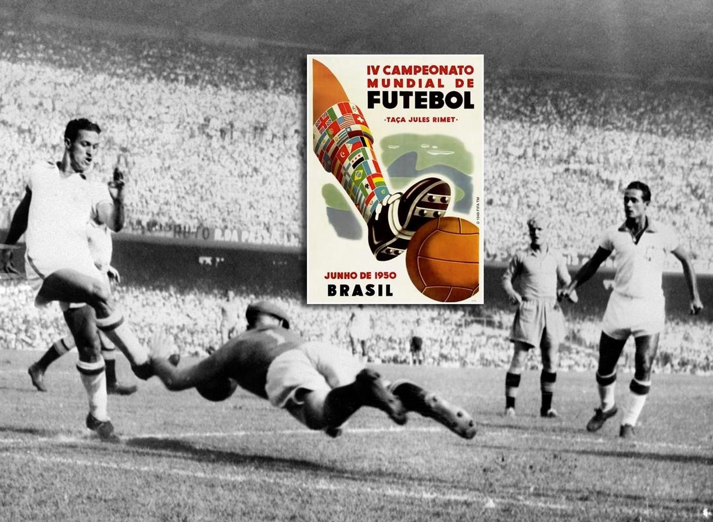 Beeld uit het WK-duel Zweden-BraziIië in 1950: doelman Kalle Svensson redt op ene inzet van Ademir.