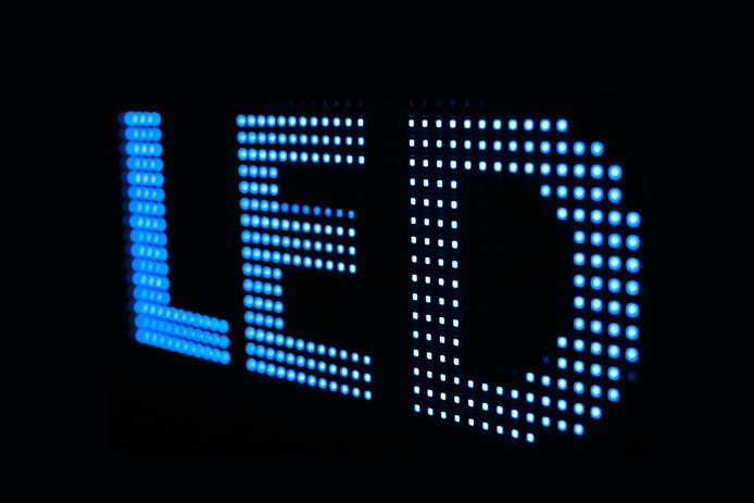 Blauwe led-verlichting.