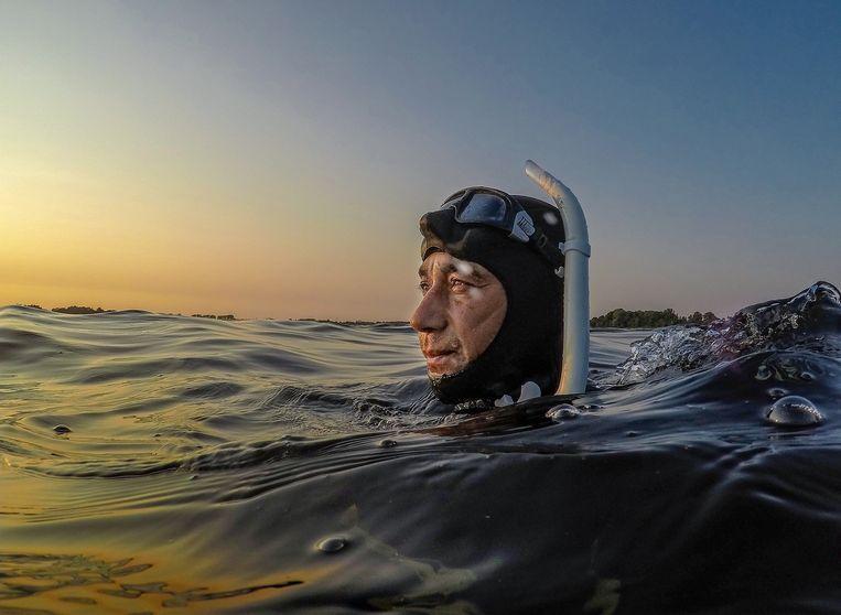Freedive-instructeur Danny Martherus duikt in het water van de Vinkeveense plassen. Beeld Patrick Post