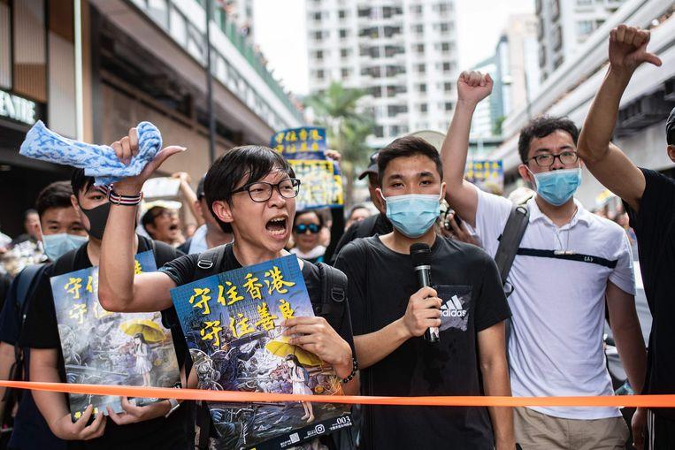 Demonstranten in Hongkong op zondag 14 juli. Beeld AFP