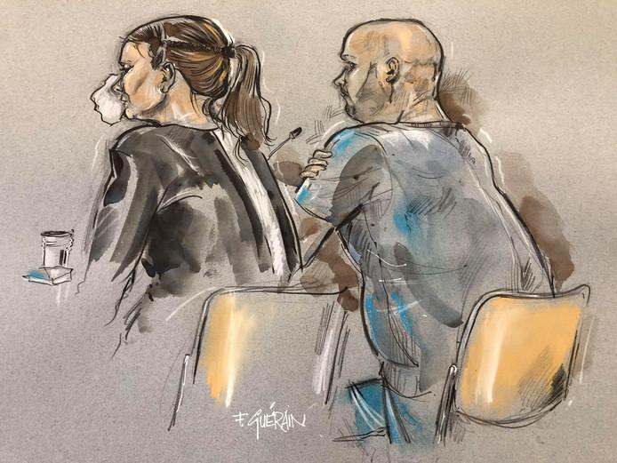Rechtbanktekening van de vader van de verwaarloosde jongen en zijn advocaat.