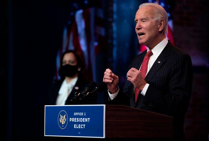 Toekomstig Amerikaans president Joe Biden donderdag tijdens een ontmoeting met gouverneurs in Wilmington in de staat Delaware.