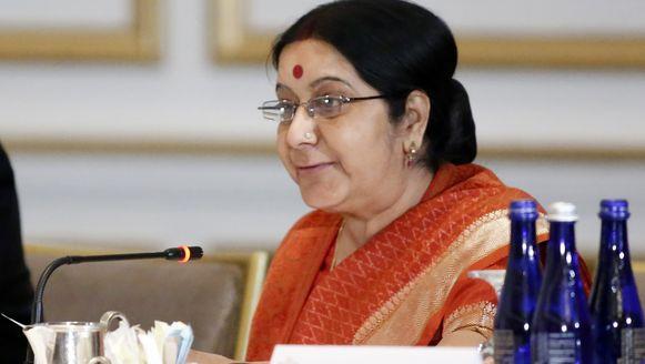 De Indiase minister van Buitenlandse Zaken Sushma Swaraj uitte haar ongenoegen op Twitter.