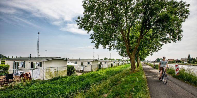 Tijdelijke woningen (chalets) voor arbeidsmigranten op de Oost Kanaalweg in Ter Aar, 2018.  Beeld Raymond Rutting / de Volkskrant
