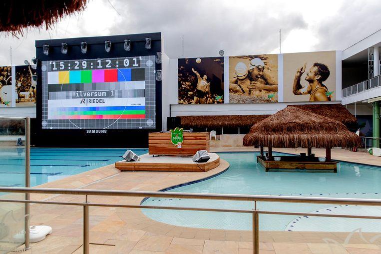 De laatste werkzaamheden aan het Holland Heineken House in Ipanema voorafgaand aan de Olympische Spelen in Rio Beeld anp