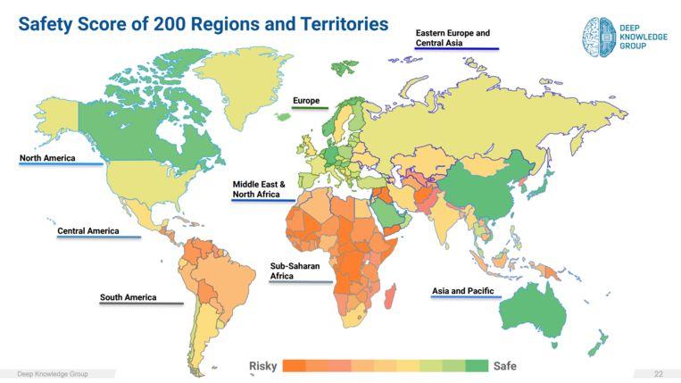 De veiligheid van landen in de coronacrisis.