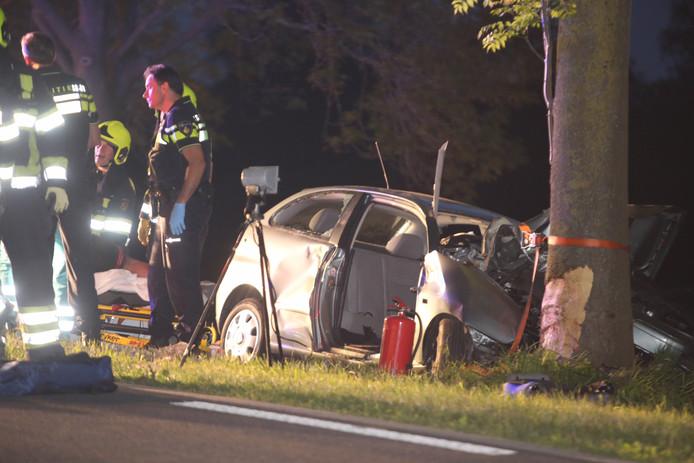 Door een onbekende oorzaak knalde de auto aan de linkerkant van de weg tegen een boom.