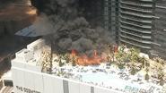 Grote brand bij zwembad op dak van hotel Las Vegas